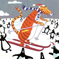 1_8800_1040, Skiing tiger -