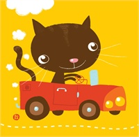 34_90212_1010, Cat in Car -